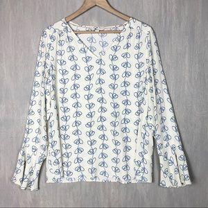 Boden floral line print blouse top 8 ivory blue